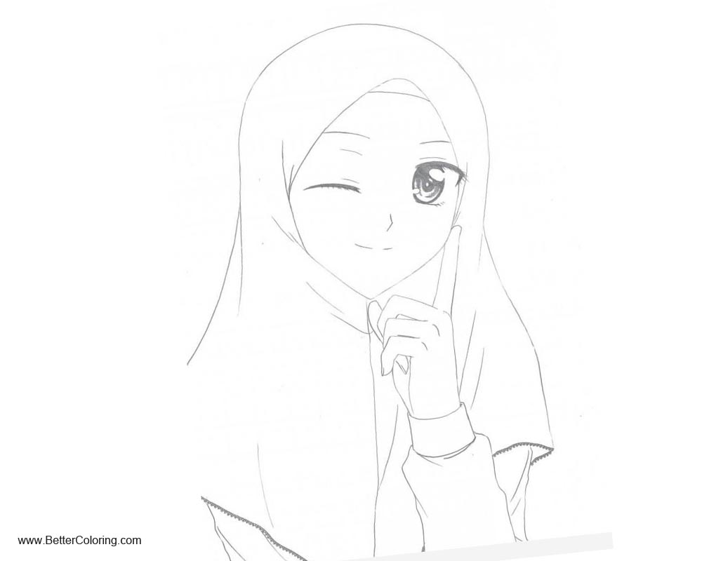 Free Girly Coloring Pages Winking Anime Muslim Girl Line Art printable