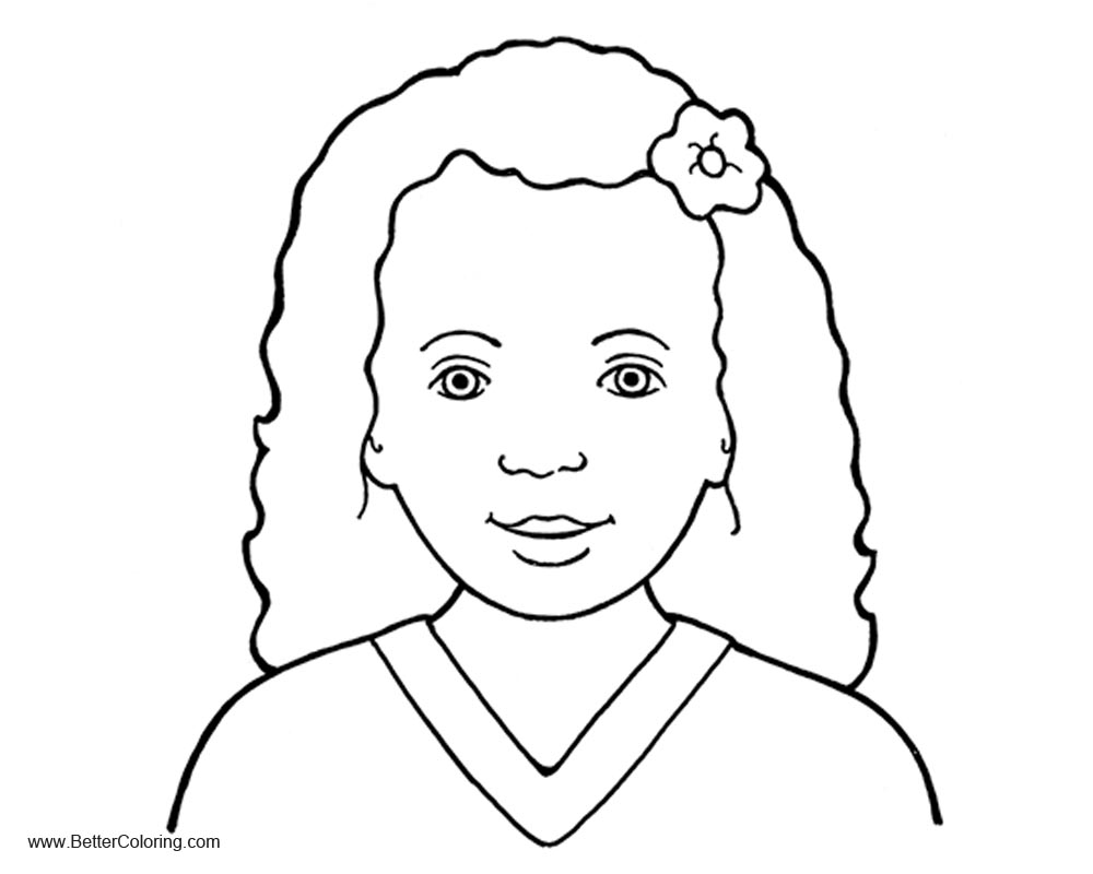 Girly Coloring Pages with Flower on Head - Free Printable Coloring Pages