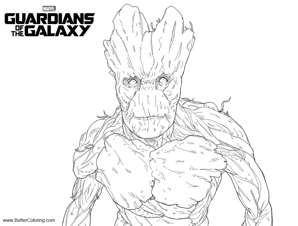 Free Groot from Guardians of the Galaxy Coloring Pages Lineart by b dangerous printable