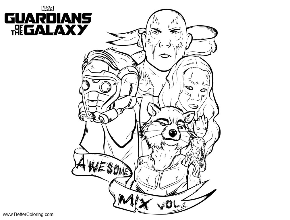 Free Guardians of the Galaxy 2 Coloring Pages Fan Drawing by SlowShink printable