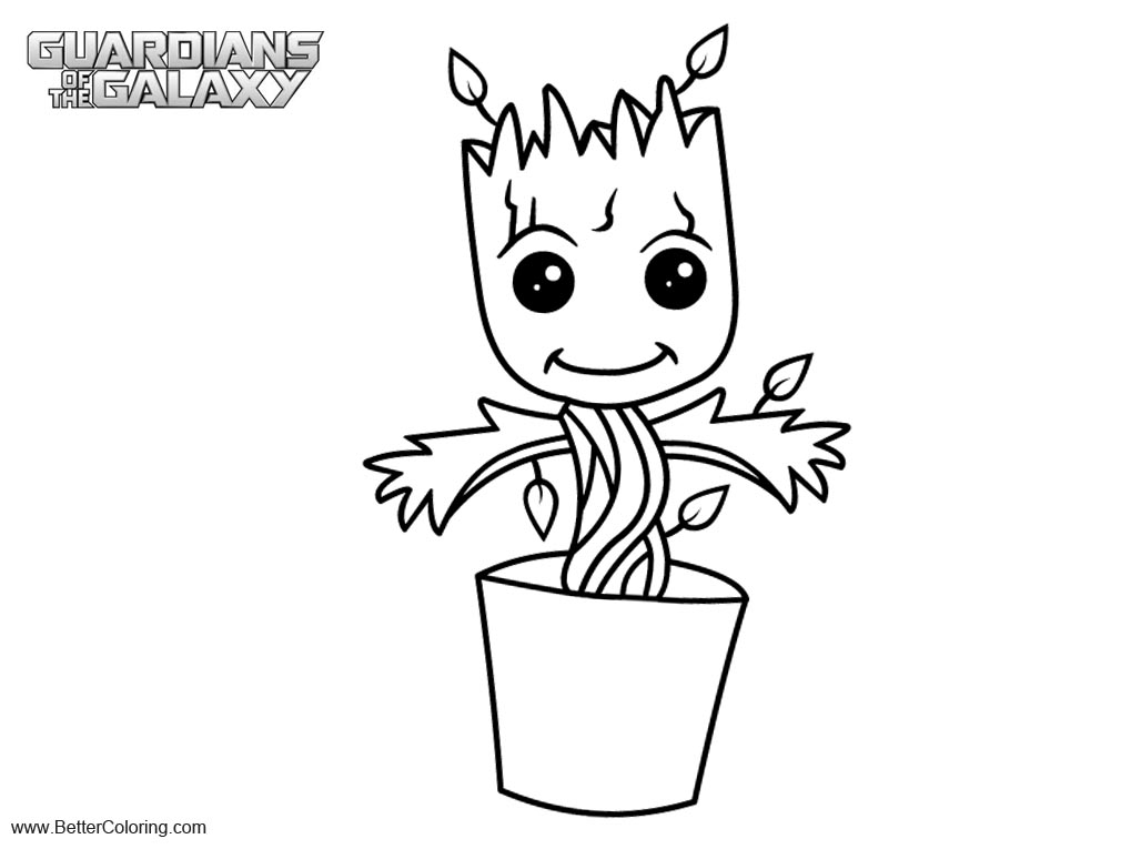 Guardians of the galaxy baby groot coloring pages free for Groot coloring pages