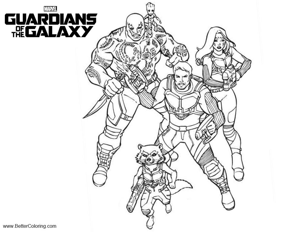 Guardians Of The Galaxy Characters Coloring Pages Free Printable