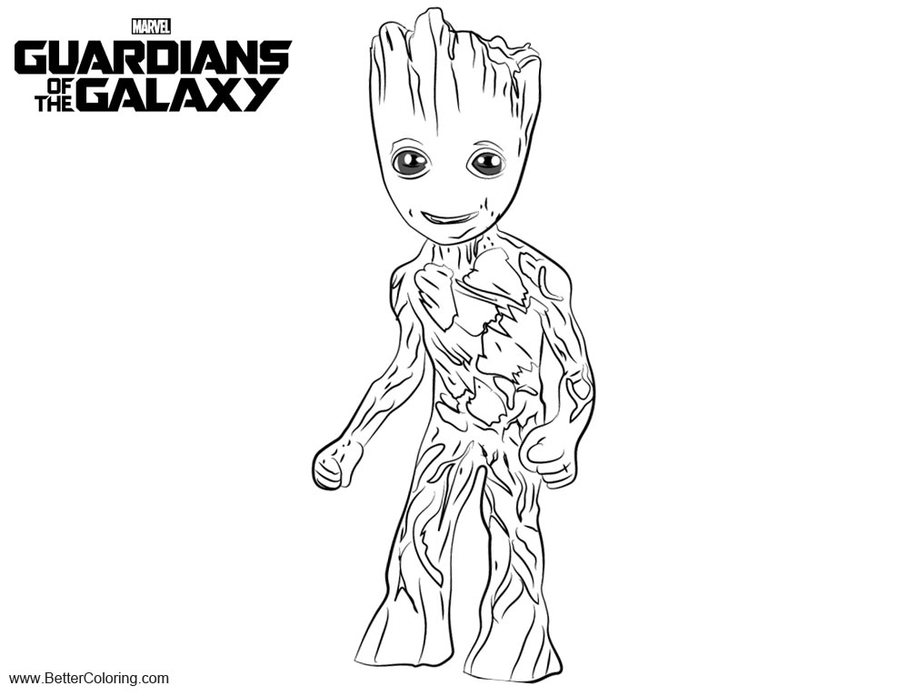 Guardians of the Galaxy Coloring Pages Baby Groot - Free Printable ...