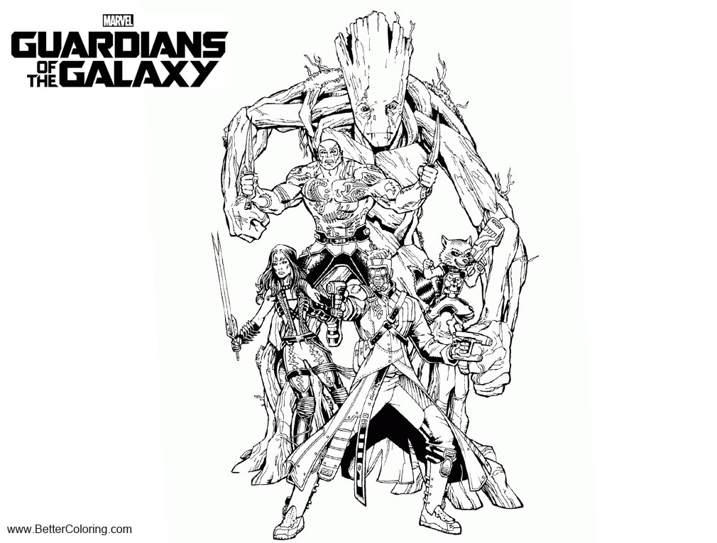 Guardians of the Galaxy Coloring Pages Characters Free Printable