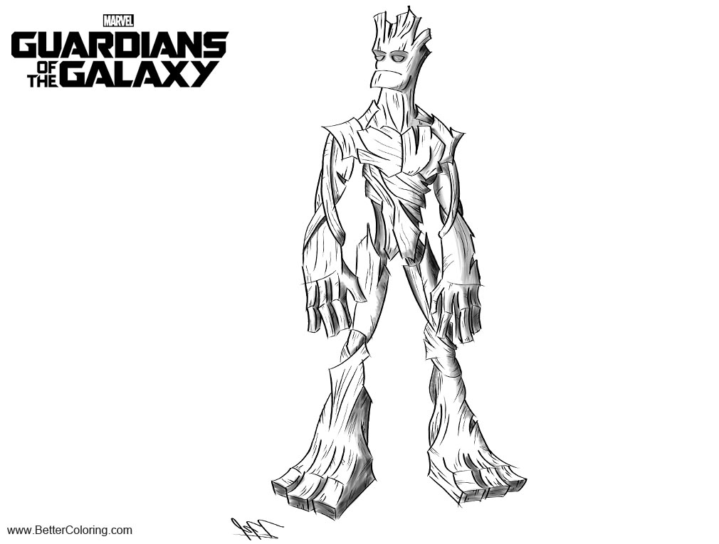 Free Guardians of the Galaxy Coloring Pages Energy Groot printable