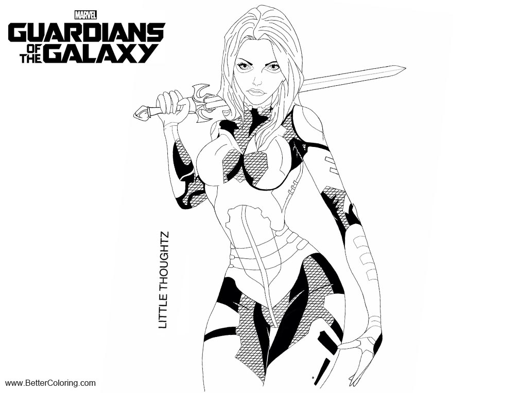 Free Guardians of the Galaxy Coloring Pages Gamora LineArt by Little thoughtz printable