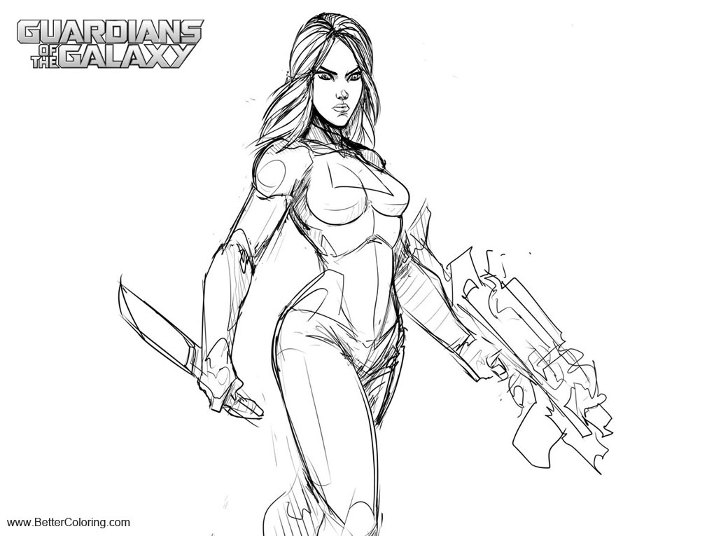 Free Guardians of the Galaxy Coloring Pages Gamora Take 2 by Sketchydeez printable