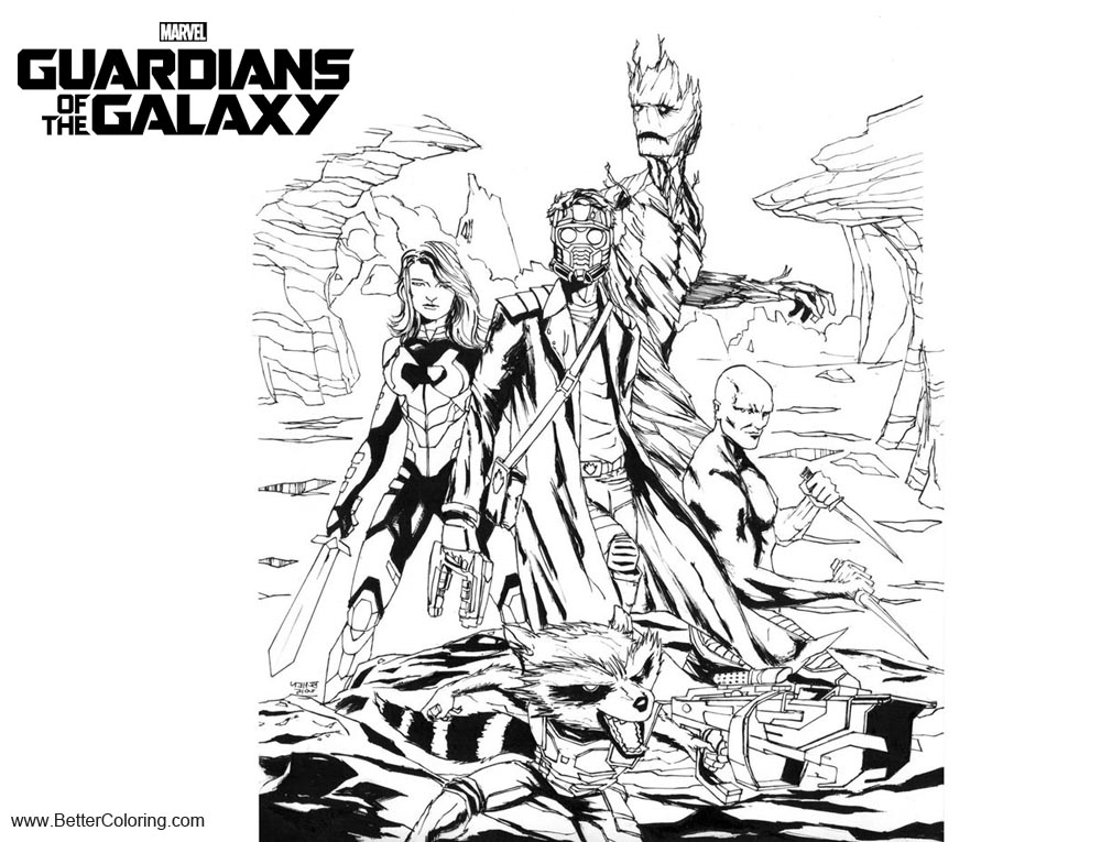 Free Guardians of the Galaxy Coloring Pages Inks by hawkdraws printable