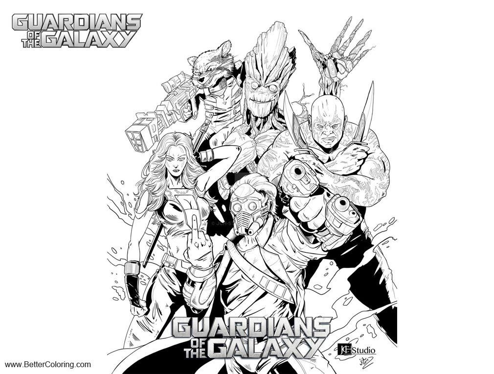 Free Guardians of the Galaxy Coloring Pages Inks by jch studio printable