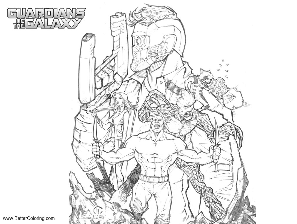 Free Guardians of the Galaxy Coloring Pages Pencils by Joeyvazquez printable