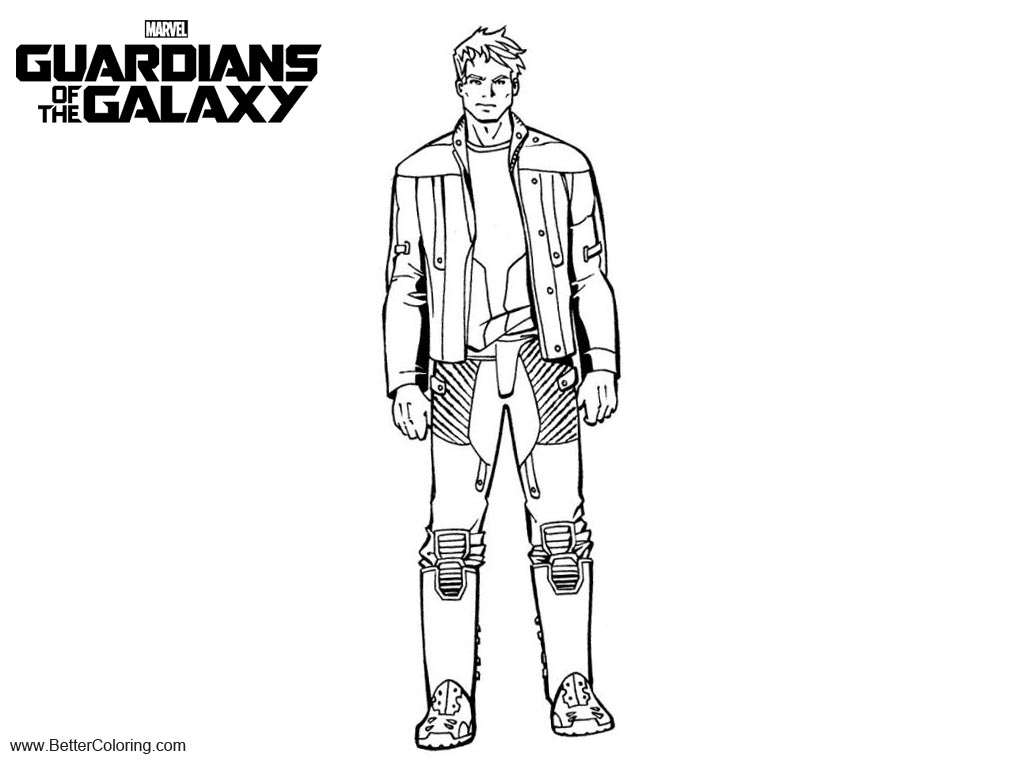 Free Guardians of the Galaxy Coloring Pages Peter printable