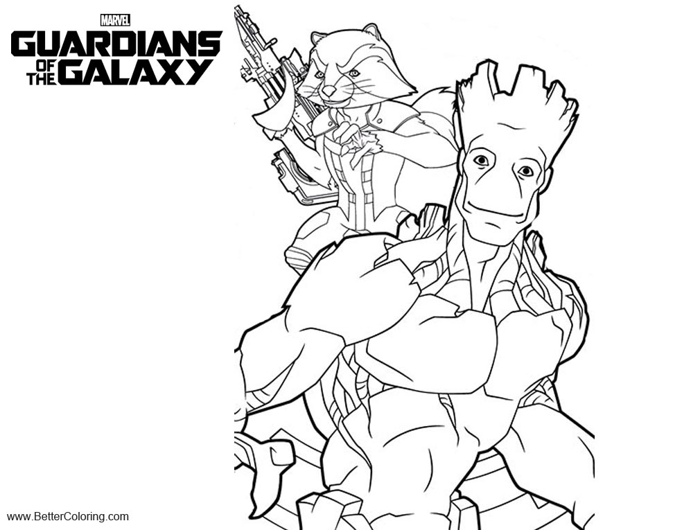 Guardians of the Galaxy Coloring Pages Rocket and Groot ...