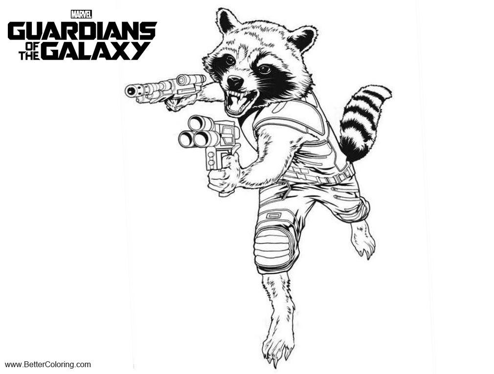 Free Guardians of the Galaxy Coloring Pages Rocket printable