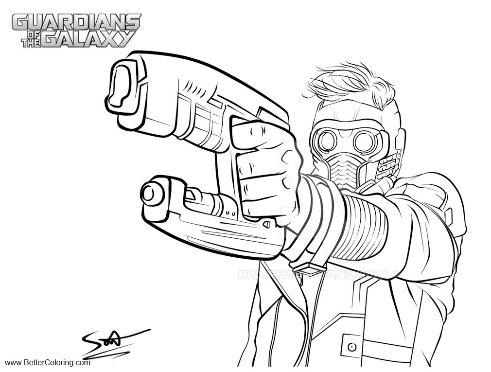 Guardians of the Galaxy Coloring Pages Star Lord Lineart by AngelZ11 ...