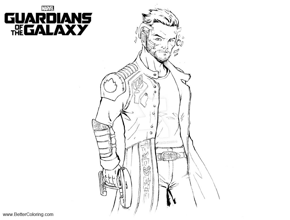 Free Guardians of the Galaxy Coloring Pages Star Lord WIP by GuanlinChen printable