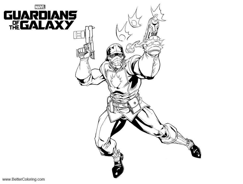 Free Guardians of the Galaxy Coloring Pages StarLord by RobertAtkins printable