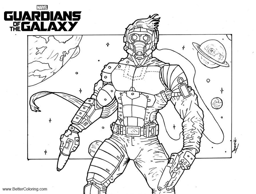 Free Guardians of the Galaxy Coloring Pages Starlord by theomegaje printable