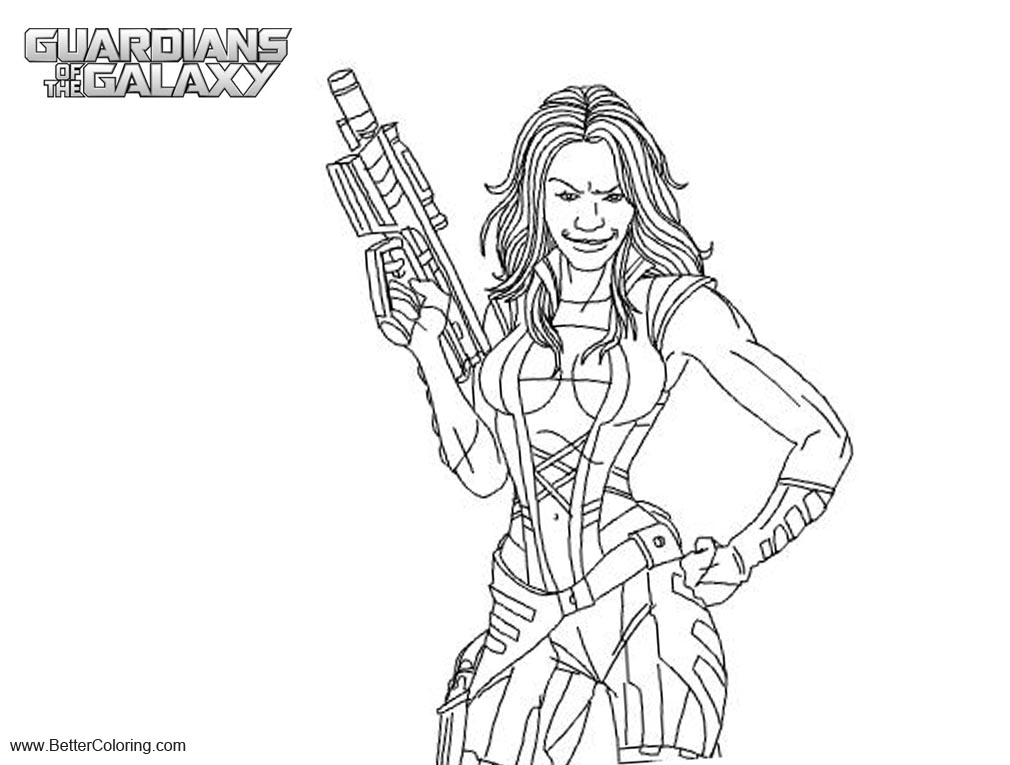 Free Guardians of the Galaxy Gamora Coloring Pages printable