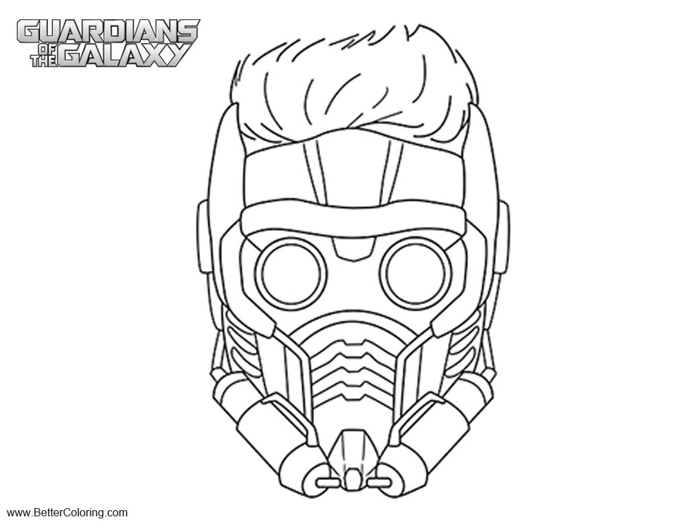 Free Guardians of the Galaxy Star Lord Coloring Pages Mask printable