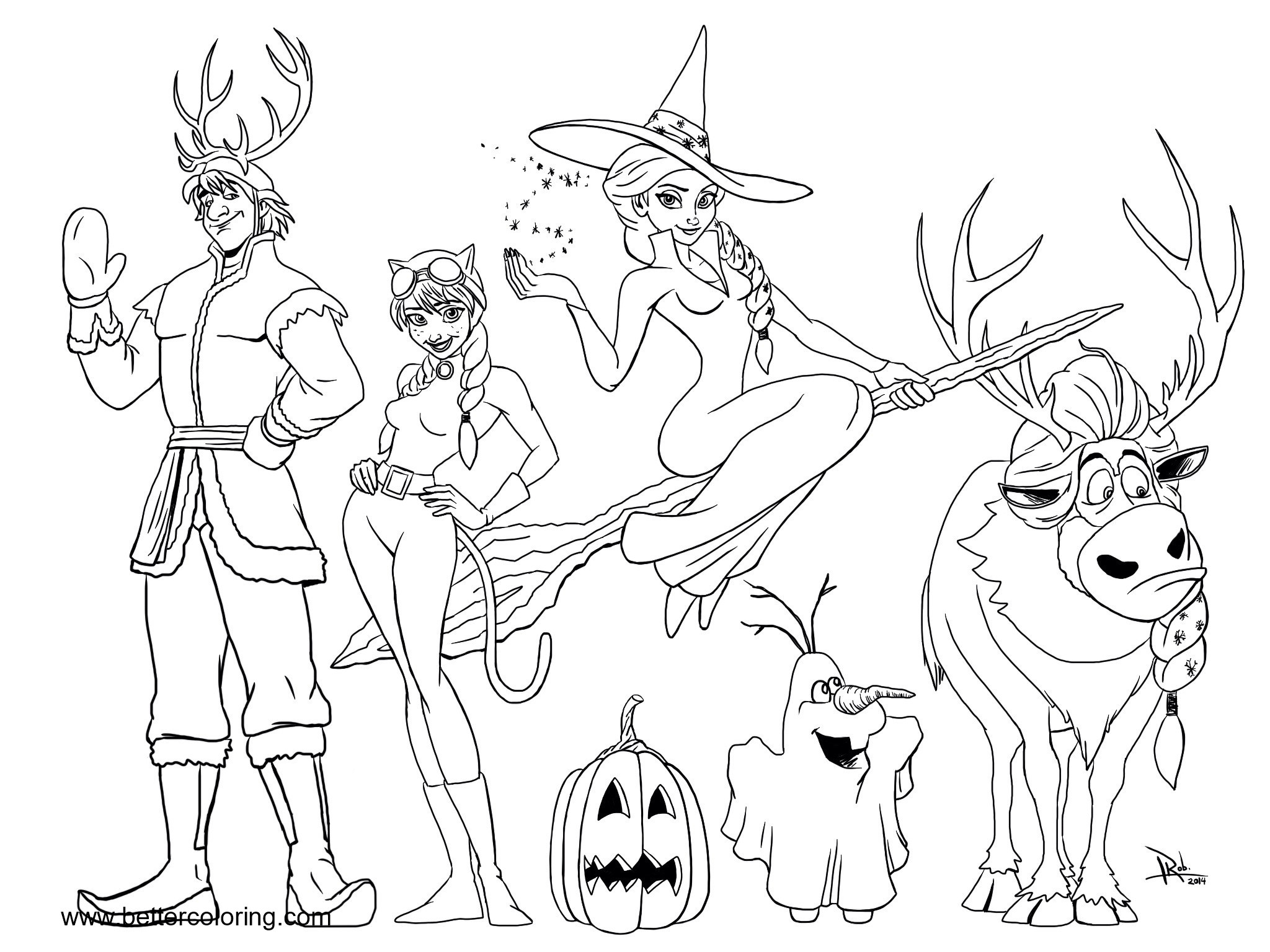 Free Halloween Frozen Characters Coloring Pages printable