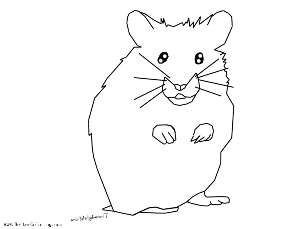 Hamster Coloring Pages Lineart By Thetwilightmidna Free Printable