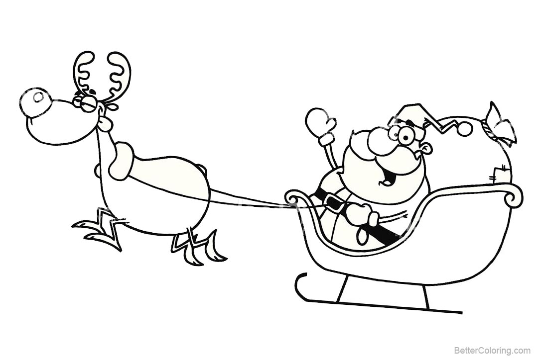 Happy Christmas Reindeer Coloring Pages