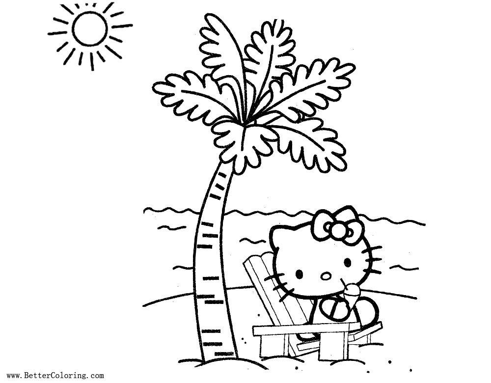 Free Hello Kitty and Palm Tree Coloring Pages printable