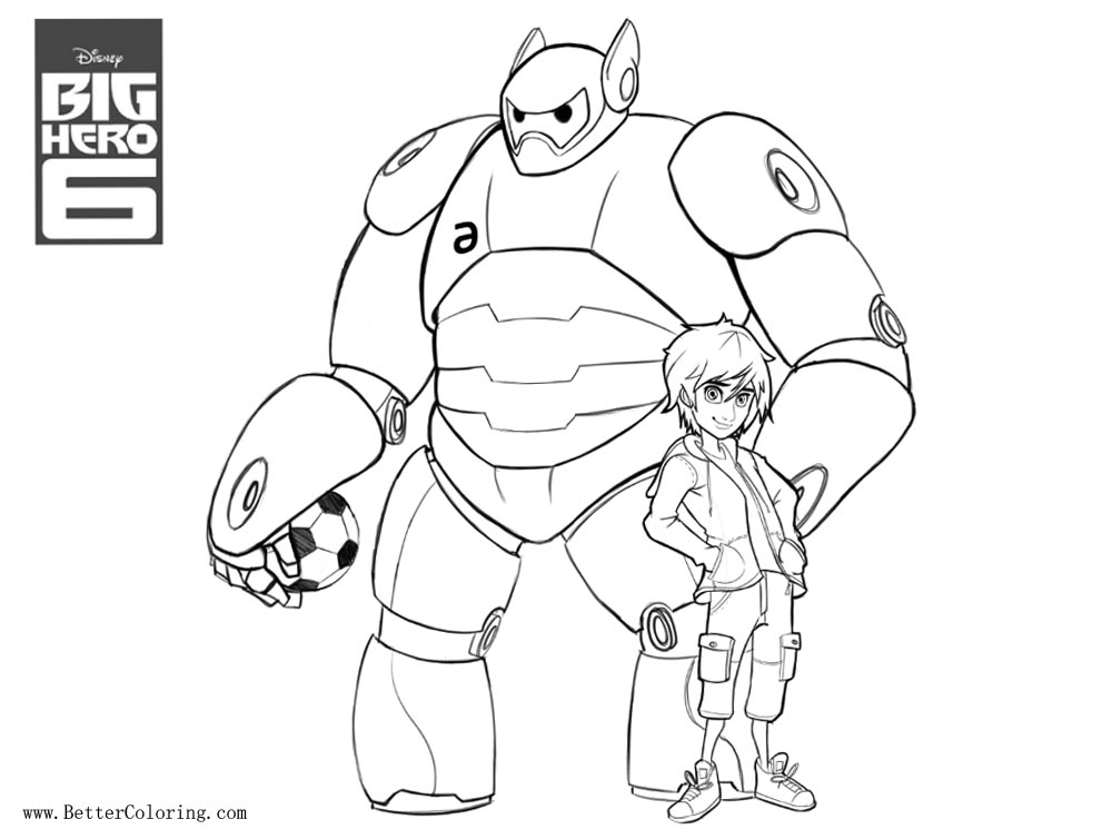 baymax coloring pages villian   Hiro and Baymax from Big Hero 6 Coloring Pages with ...