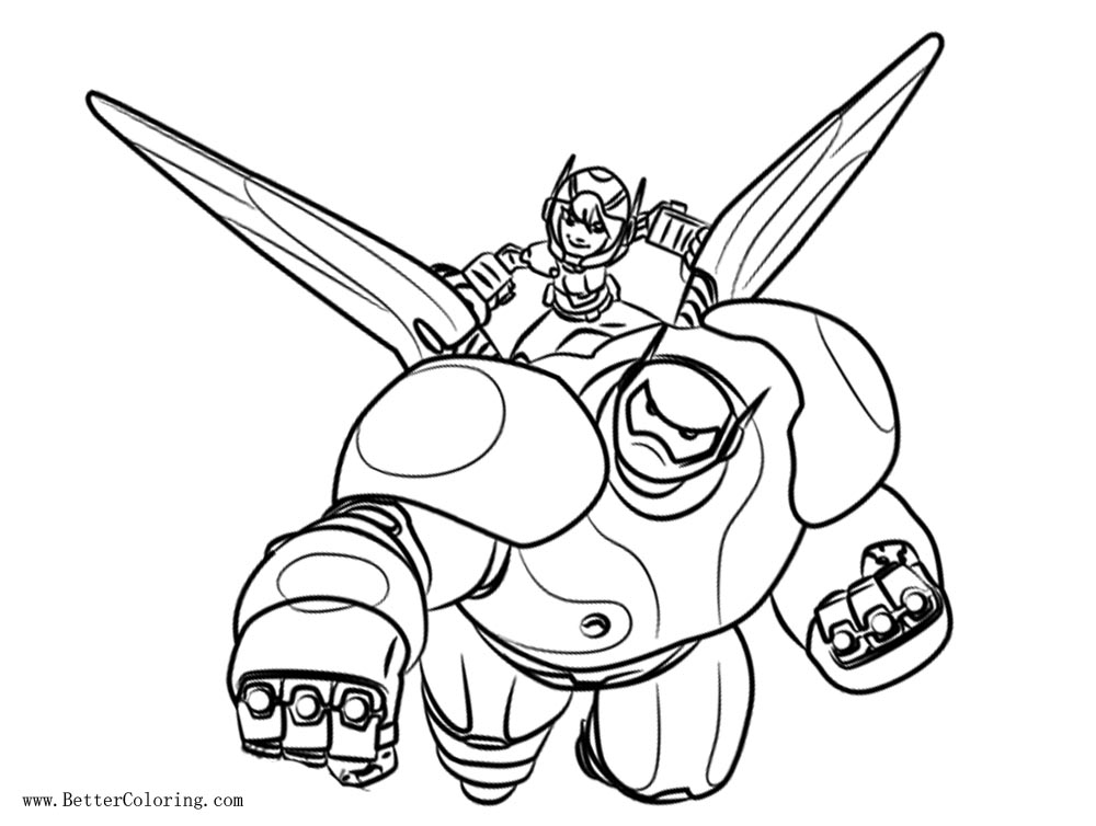 Free Hiro and Baymax from Big Hero 6 Coloring Pages printable
