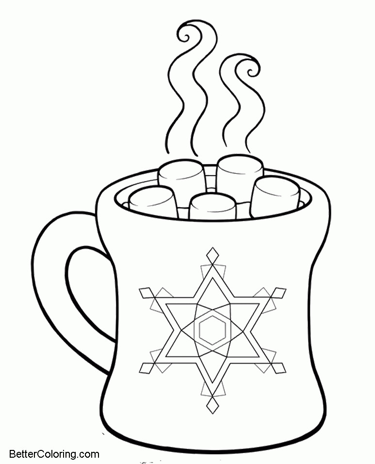 Free Hot Chocolate in Winter Coloring Pages printable