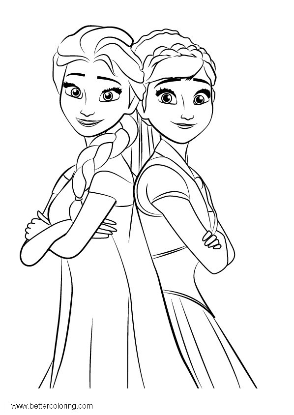 How to Draw Frozen Elsa and Anna Coloring Pages Free