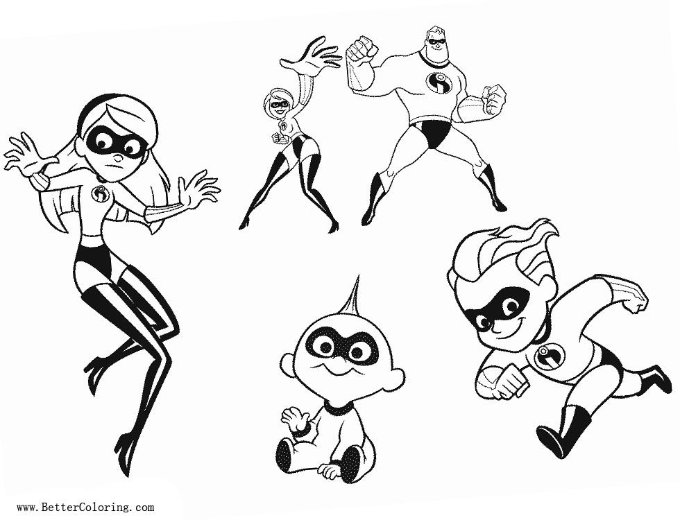 Incredibles 2 Coloring Pages Characters Free Printable