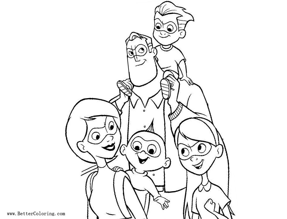 Free Incredibles 2 Coloring Pages Family Characters printable
