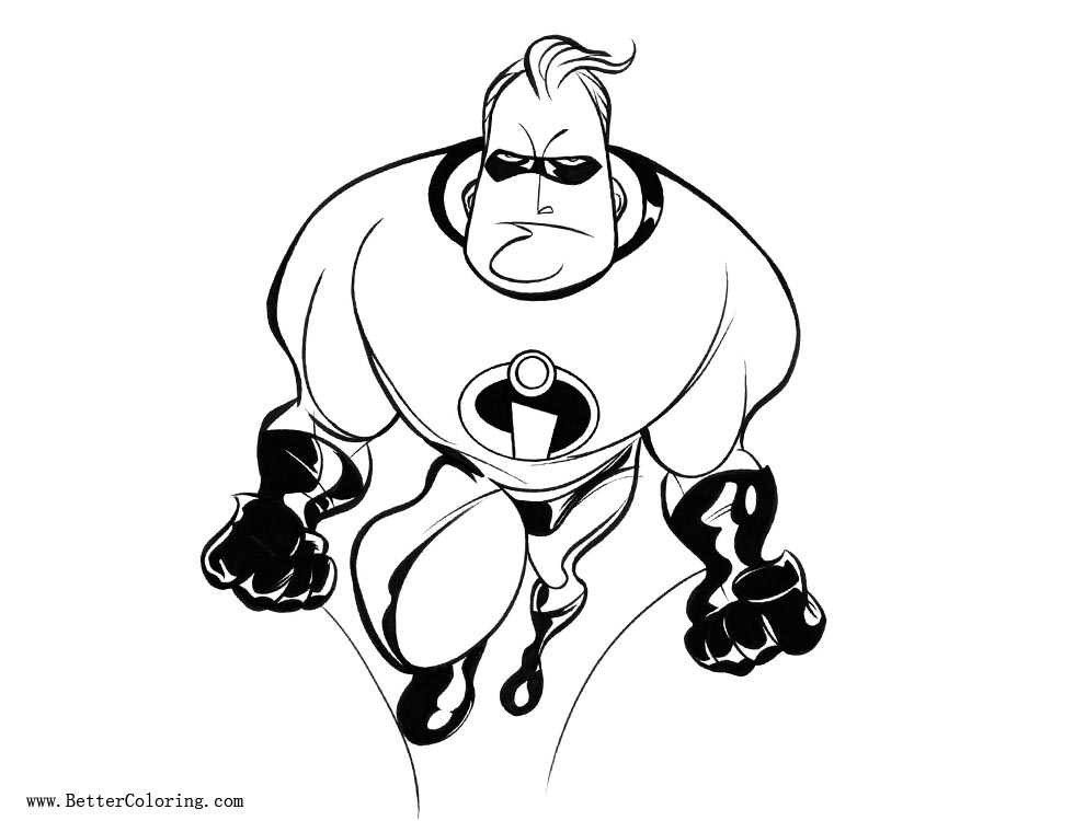 Incredibles Coloring Pages Mr Incredible