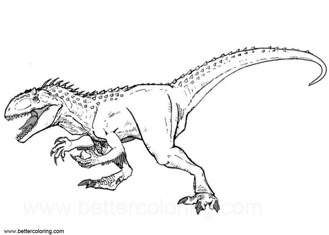 Free Indoraptor Coloring Pages Clipart Black and White printable