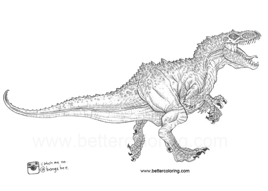 Free Indoraptor Coloring Pages Line Art printable
