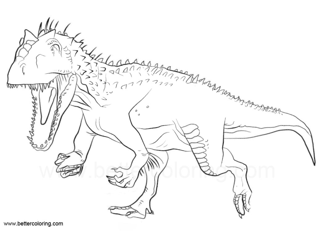 Indoraptor Coloring Pages From Jurassic World on sloth coloring pages for adults