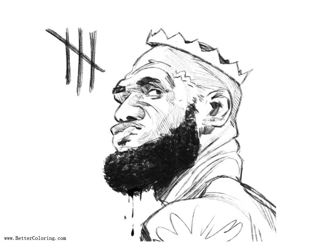 Lebron james coloring pages hawks feast sketch free for Lebron james coloring pages
