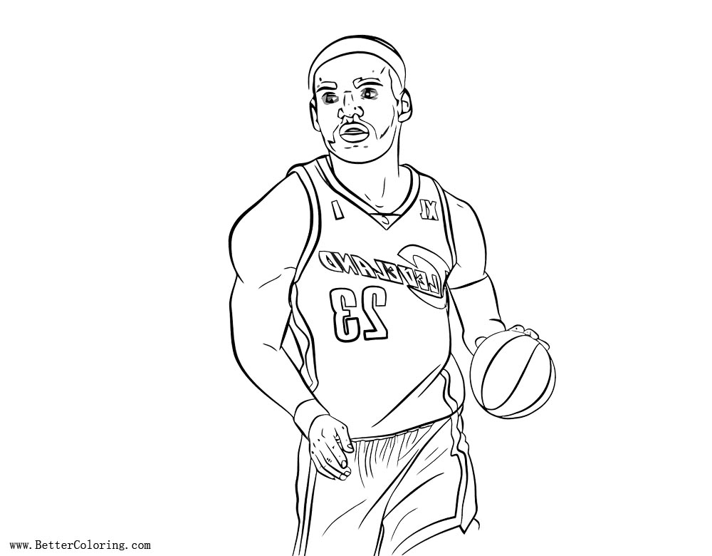 Free Lebron James Coloring Pages Line Art printable