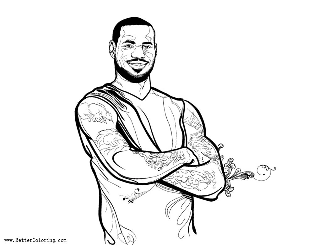 Lebron James Coloring Pages Miami Heat Forward - Free ...
