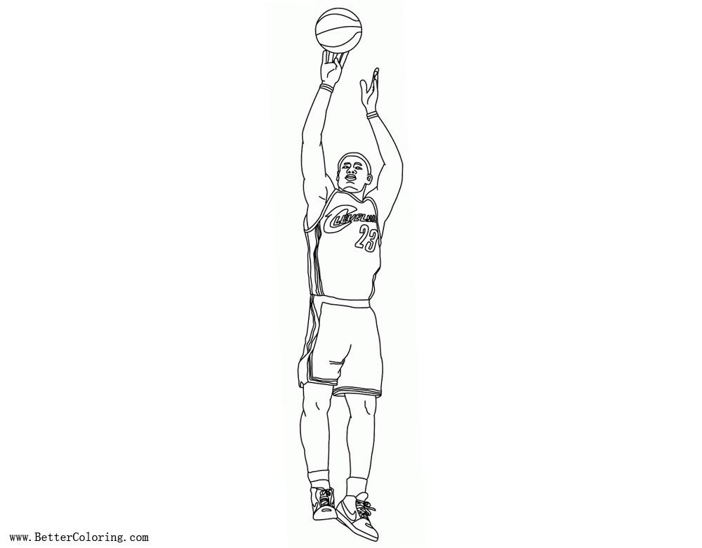 Free Lebron James Coloring Pages Playing Basketball printable
