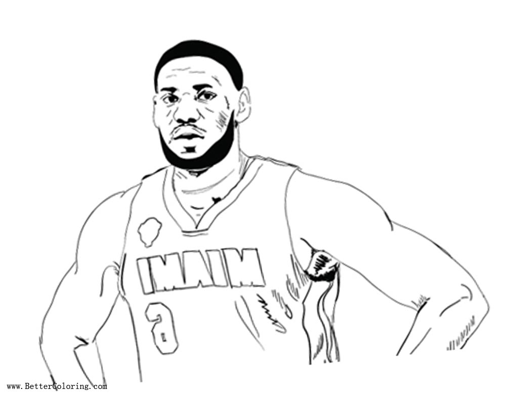 Lebron James Coloring Pages Rough Draft Outline by Timothy ...