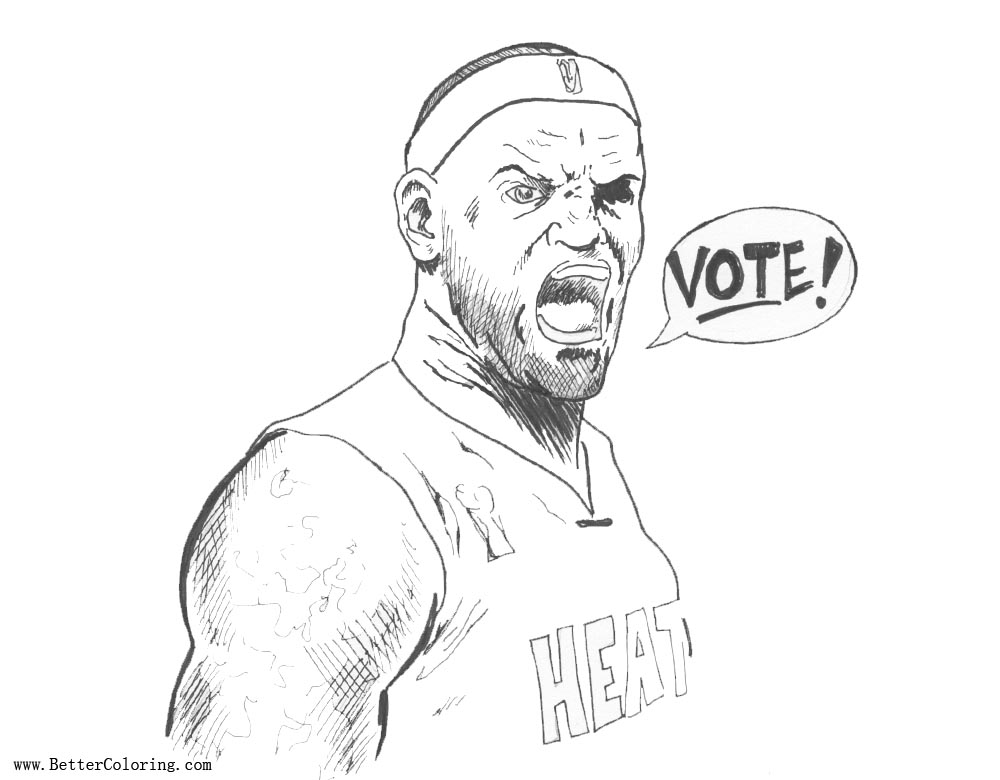 Free Lebron James Coloring Pages Say Vote printable