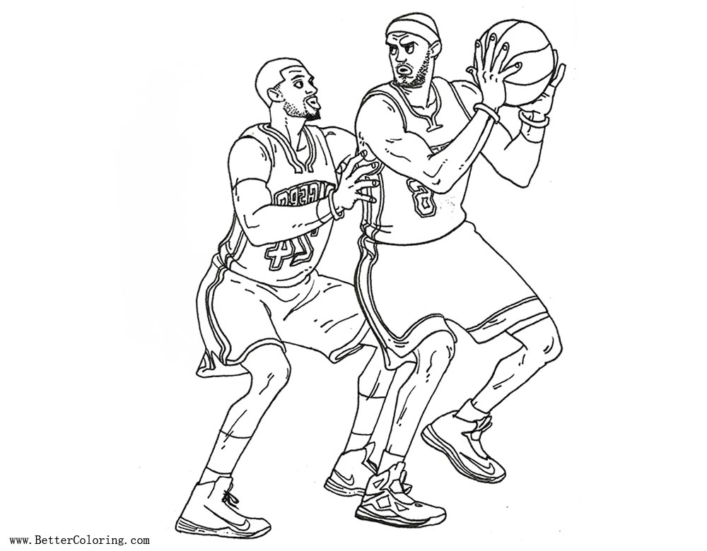 Lebron James Coloring Pages VS Paul George - Free Printable Coloring ...