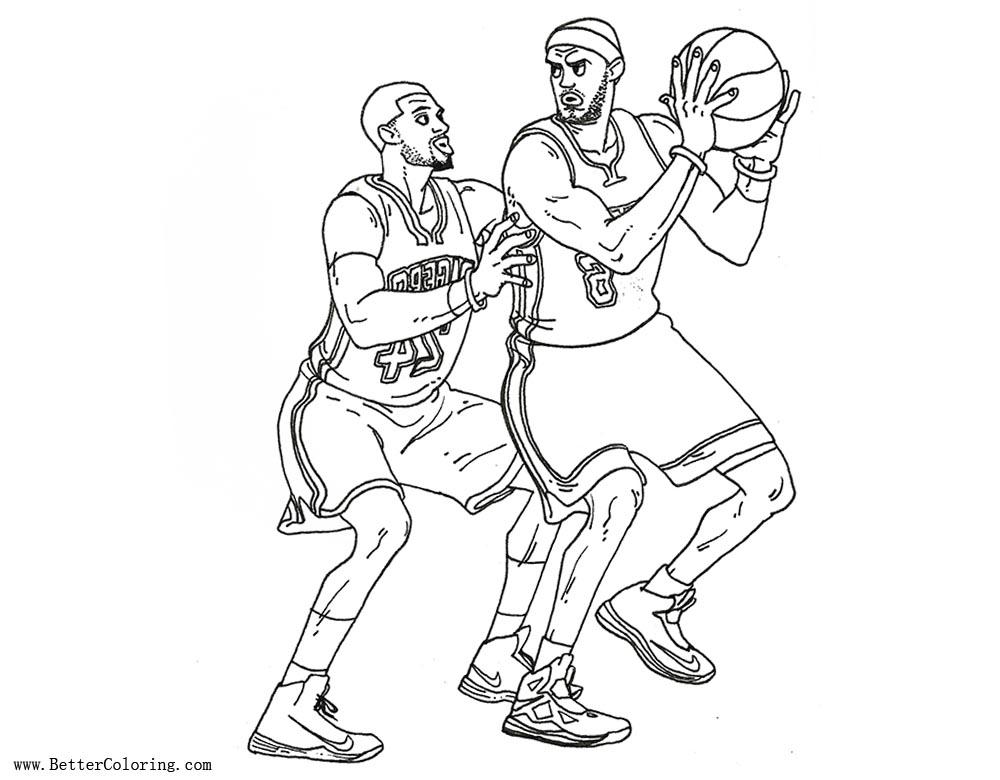 Lebron james coloring pages vs paul george free for Lebron james coloring pages