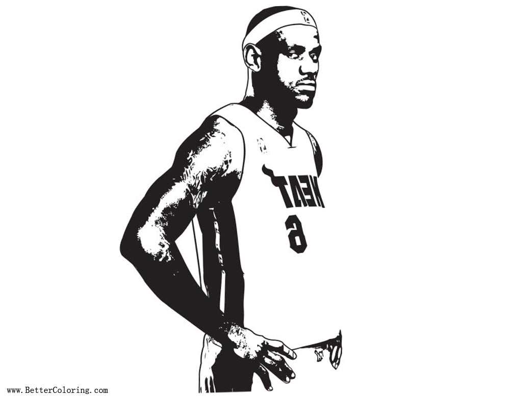 lebron james coloring pages from miami heat free printable