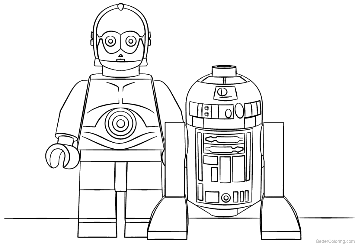 Free Lego Star Wars R2D2 Coloring Pages printable