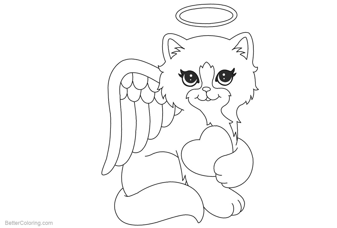 Free Lisa Frank Coloring Pages Beautiful Cat Angel by michy123 printable