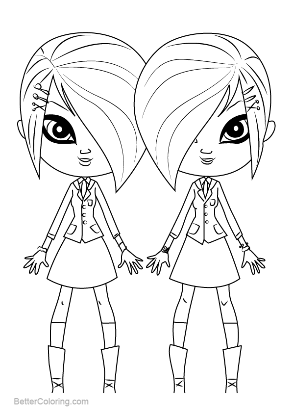 Free Littlest Pet Shop Coloring Pages Whittany and Brittany Biskit printable