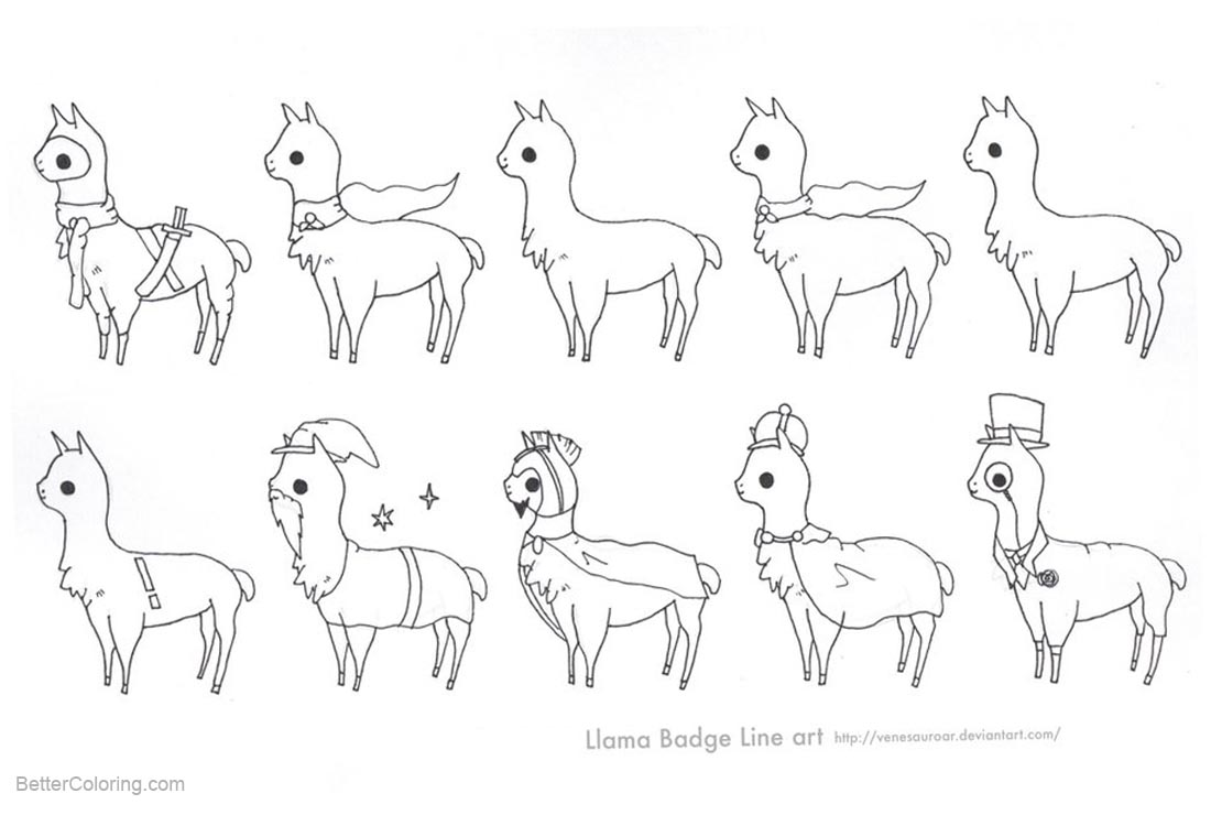 Free Llama Coloring Pages Badge Line art by Sweet Fizz printable